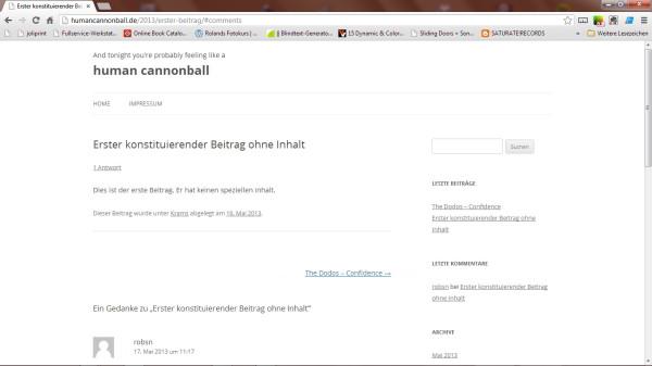 Screenshot des ersten Beitrags im Blog